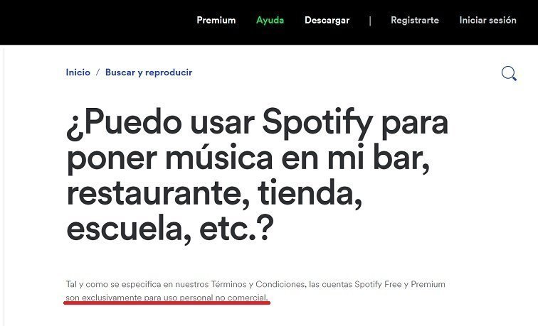 Spotify no es legal para uso comercial